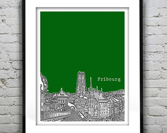 Fribourg Switzerland Poster City Skyline Art Print