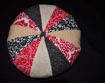 Decorative Pillow, Round Pouf Pillow, Red Black Tan Pillow, Amy Butler Style Pillow, Throw Pillow