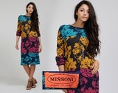 vintage 80s MISSONI sweater dress S M floral colorblocked authentic knit midi tunic long