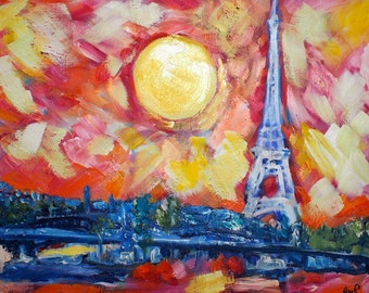 Original Art Print. Paris France Eiffel Tower original oil painting by BrandanC