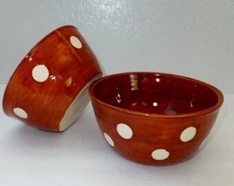 Rust Brown with White Polka Dot Ceramic Bowl Set, Nesting Bowls