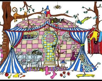 Camping illustration - Wagon illustration - Caravan illustration - Camping Trip- Illustration Print