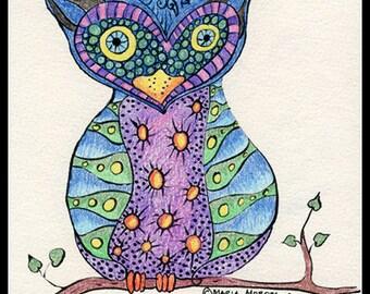 Heart Owl Illustration, Owl Illustration - Illustrated Owl - Purple Blue Owl - Illustration Print