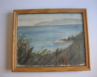 vintage original watercolor painting, seascape signed Liakos