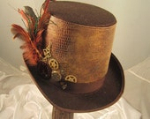 STEAMPUNK HAT MEN'S brown felt top hat  with pheasant feathers and  clock parts
