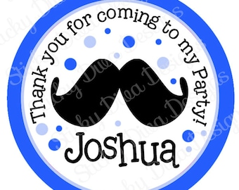 PERSONALIZED STICKERS - Custom Mustashe Birthday Personalized Labels -  Gloss Labels or Tags