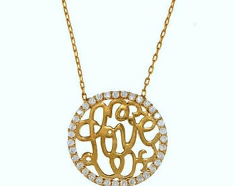 gold vermeil and cz love necklace.gold over sterling silver pendant, cz and gold jewelry, fantasy jewelry