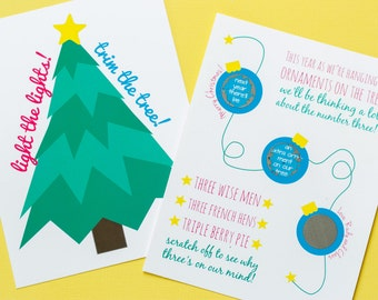 10 Christmas-Themed Pregnancy or Gender Announcements - Trees - Scratch-off - Personalized