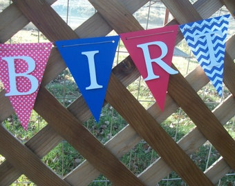 Red white and blue happy birthday banner, birthday banner, happy 1st birthday banner