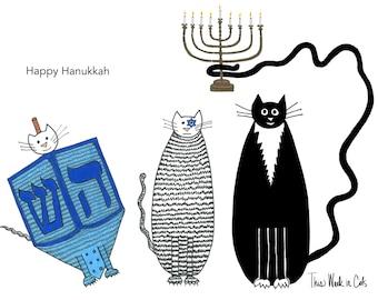 Cat card - Happy Hanukkah Funny Cats Three Cats Dreidel Menorah Star of David Holidays