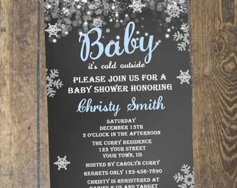 Winter Baby Shower Invitation Chalkboard Invitation DIY Custom Printable