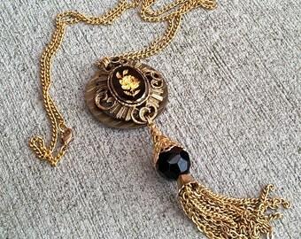 Mrs. Pittock's Garden- Vintage Rose Intaglio Assemblage Necklace w/ Tassel