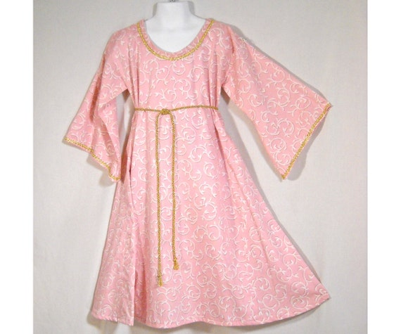 Sz 4 Medieval SCA LARP Girl's Princess Dress Gown w/ Metallic Trim