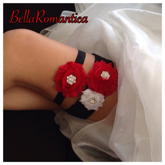 Red Wedding Garters: Red And Black Wedding Red And Black Garter Set By