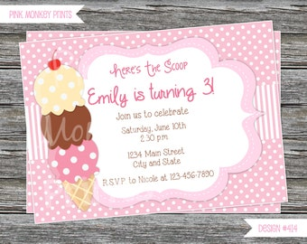 DIY - Girl Ice Cream Birthday Party Invitation #414- Coordinating Items Available