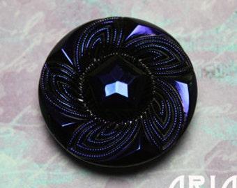 CZECH GLASS BUTTON: 27mm Twisted Flower Handpainted Czech Glass Button, Pendant, Cabochon (1)