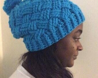 Custom Basket Weave Crochet Beanie
