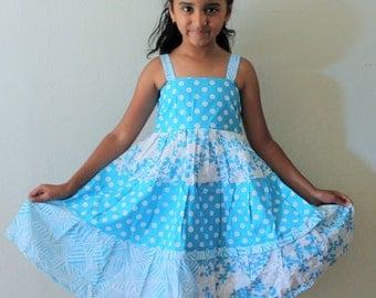 Girls twirly dress, Perfect for spring and summer, turquoise and lilac