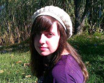 Womens crochet hat, slouchy beret, beanie, winter hat