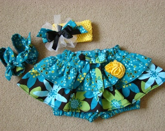 Ruffled Skirt with Attached Diaper Cover Set