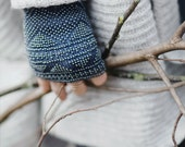 Luxury Steel blue beaded wrist warmers / fingerless gloves - made to order