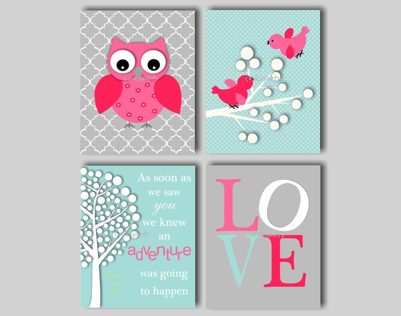 Baby girl nursery art owl nursery prints baby bird nursery art for Baby girl nursery paintings