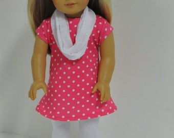 Pink Polka Dot Knit Dress With White Leggings and Infinity Scarf 18 inch Doll Clothes