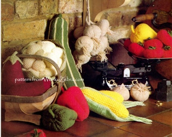 Pattern for knitted vegetables from Vintage magazine PDF 538 from ToyPatternLand and WonkyZebra