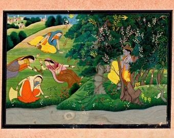 "Indian Art : ""Krishna Fluting to the Milkmaids"" (1775-1785) - Giclee Fine Art Print"