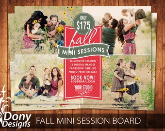Fall Mini Session Template Photography Marketing board - Photoshop template Instant Download - BUY 1 GET 1 FREE: ms-413
