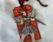 Christmas Art Tag, Ornament, Articulated Paper Doll, Ballerina, Angel ,Keepsake, 3D, Victorian, Steampunk, Collage, Paris, Unique, NECteam