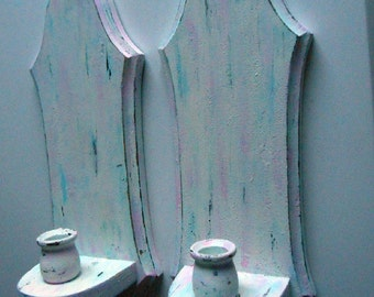Distressed, Vintage, Shabby Chic, Wood, Blue, Pink, White, Hand Painted, Candle Holders, Sconces