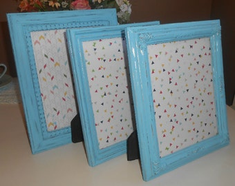 Three Vintage, Distressed, Upcycled, Shabby Chic, Aqua, Handpainted, Picture Frames, Blue
