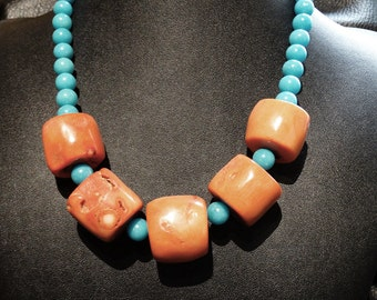Vintage Coral Chunk Necklace
