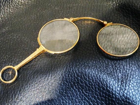14k Solid Gold Eyeglass Frames : Antique Solid 14K Gold Lorgnette Eyeglasses Edwardian 1900