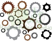 Steampunk Cogs Gears Collage Sheet Printable Victorian Scrapbooking Craft Embellishment Bronze Copper Iron Aluminum Steel Industrial File