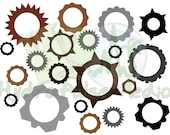 Cogs Gears Collage Sheet Printable Steampunk Victorian Scrapbooking Craft Embellishment Bronze Copper Iron Aluminum Steel Industrial File