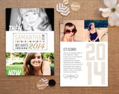 Now and then graduation announcements - Grad party invitations with vintage past and modern present photos - Samantha