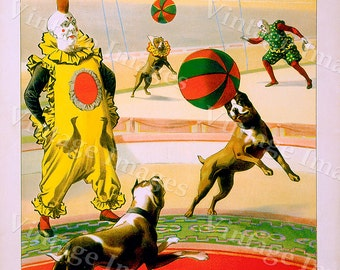 Vintage Circus Poster 1903 Barnum & Bailey colorful Circus big top clown and dogs Poster Children's kids Game Room Fine Art Childs decor