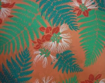 Hawaiian Fabric - Green Fern Leaves on Orange Background
