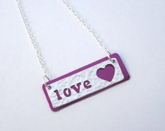 Love textured aluminium necklace