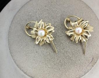 Vintage Floral pearl Scatter Pin Set