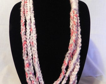 Pink Varigated Crochet Chain Scarf Necklace