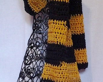 College Football Scarf in Black and Gold for Men or Women