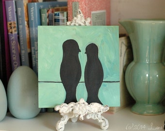 Original Acrylic Painting - Love Birds on a Wire - Silhouette, Couple - Black Aqua Teal Turquoise