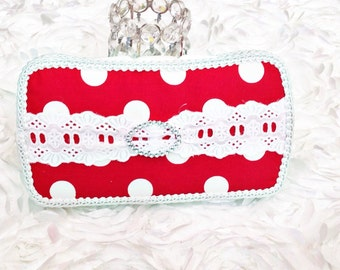Red and white baby wipe case, baby wipe clutch, container
