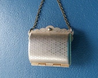 Vintage, Gold Tone, Metal, Purse Shaped, Pill Box