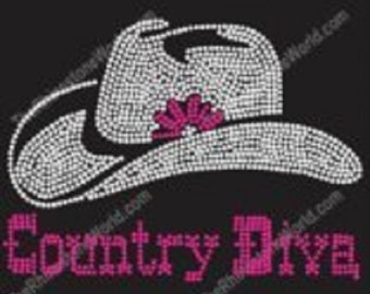Country Diva Pink Rhinestone Iron On Transfer                        IBZW