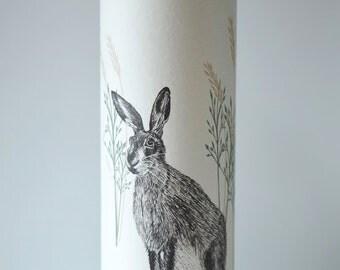 Wild Hare Illustrated Handmde Tall Paper Lamp