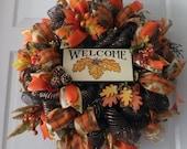 Deco Mesh Fall Wreath, Fall Welcome Wreath, Fall Wreath, Welcome Sign Wreath
